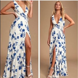 Lulus Lindsie Blue and White Floral Print Dress